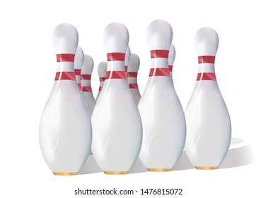 Realistic bowling skittles pins vector illustration. Isolated on a white background