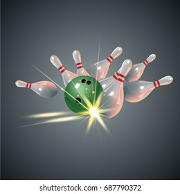 Realistic bowling strike concept on dark gray background.. Bowling strike with ball