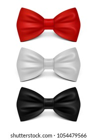 Realistic bows isolated on white background - classic bow tie set. Vector bow tie accessory, bowtie elegance collection illustration