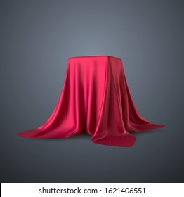 Realistic box covered with red silk cloth. Isolated on black background. Satin fabric wave texture material. Textile design, fabric. Vector illustration EPS10