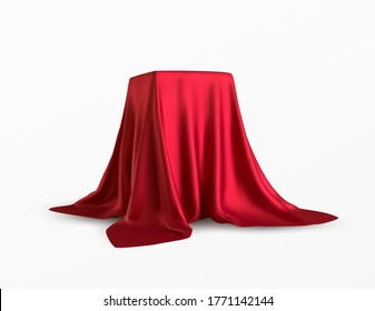 Realistic box covered with red silk cloth. Isolated on white background. Satin fabric wave texture material. Textile design, fabric. Vector illustration EPS10