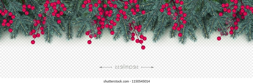 Realistic branches of Christmas tree and holly berries Xmas and New Year seamless border Element for festive design isolated on transparent background Minimal Vector illustration