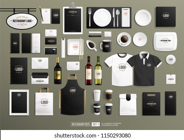 Realistic Brand identity Mock-Up set for Restaurant with vector tableware and stationery set. Branding mockup of Red and white wine bottle, restaurant sign, uniform, paper cup, food packaging