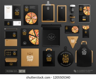 Realistic brand identity set of Pizzeria poster, pizza slice box, flyer, menu, package, uniform. Concept of logo for Pizza shop, restaurant Black design branding. Top view stationery mockup set