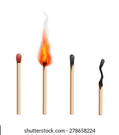 Realistic brand new, burning and burnt  match sticks on white background. Vector illustration