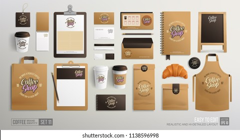 Realistic Branding Mockup set for Coffee shop, Restaurant, Bakery. Corporate identity mockup. Coffee food package. Vector MockUp business stationery elements for coffeeshop and fast-food restaurant