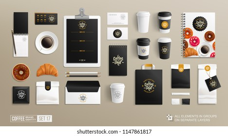 Realistic Branding Mockup set for Coffee shop, Restaurant. Coffee food package mock-up. Hi-detiled Corporate identity MockUp set shopping bag, paper package, menu, stationary elements