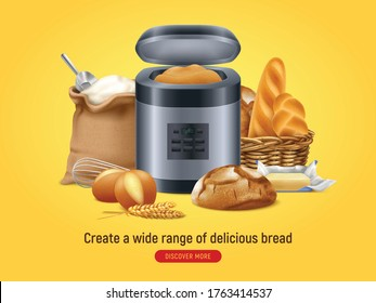 Realistic bread machine background with discover more button text and composition of home baked food images vector illustration