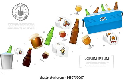 Realistic brewery colorful template with beer bottles glasses box and bucket with ice and alcohol drinks coasters vector illustration