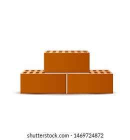 Realistic brick heap. Vector brick stone stack for industrial design. Building material. Bunch of brown blocks for masonry.