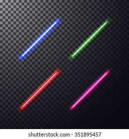 Realistic bright colorful laser beam. Light swords on isolated transparent black background. Weapon futuristic from star war. Vector illustration, design elements for your projects