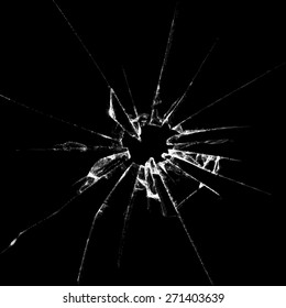 Realistic  broken glass black background destruction vector illustration