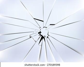 realistic broken window's glass vector