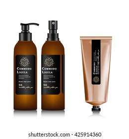 Realistic brown bottle for cosmetic. Realistic spray pistol cleaner, plastic bottle, trigger spray. Mock up bottle. Cosmetic vial, shampoo, oil, gel. Design label, sticker for beauty bottle. Tube.