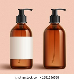 Realistic brown cosmetic bottles on peach pink background, one with white blank label and one without, 3d illustration