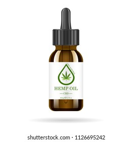 Realistic brown glass bottle with hemp oil. Mock up of cannabis oil extracts in jars. Medical Marijuana logo on the label. Vector illustration