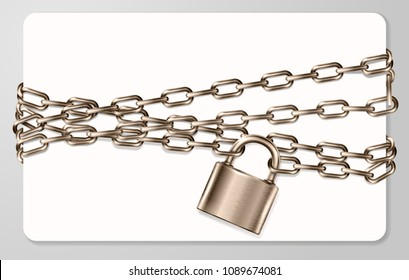 The realistic  brown metal chain and padlock, handcuffed card, vector illustration
