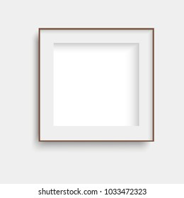 Realistic brown poster frame mock up. Vector