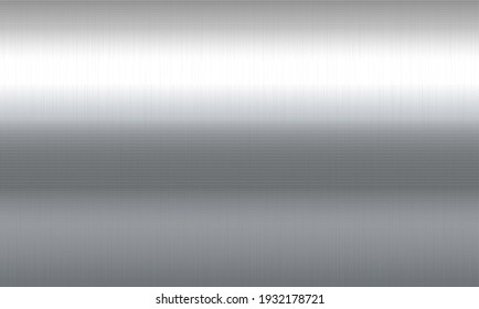 Realistic brushed metal texture. Polished stainless steel background. Reflective metallic panel or plate closeup. Vector illustration.