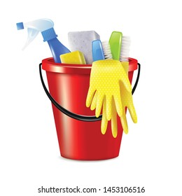 Realistic bucket cleaning composition with isolated image of plastic bucket with cleaning supplies and disinfection agents vector illustration