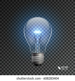 realistic bulb with shining light on a isolated background