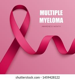 Realistic burgundy ribbon. Symbol of multiple myeloma, meningitis, brain aneurysm awareness