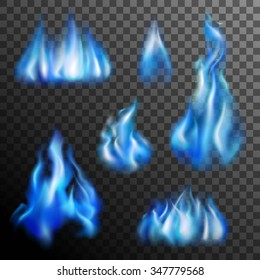 Realistic burning blue fire transparent set isolated vector illustration