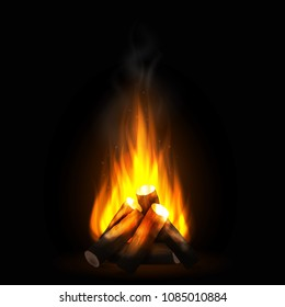 Realistic burning bonfire with wood. Blazing campfire, firewood and smoke. Bright flame. Design element for travel or camping concept. Vector illustration on dark background.