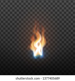 Realistic Burning Brush Fire Flame Element Vector. Hot Red Blaze Spurt Or Translucent Fire Torch Flame With Special Effect Closeup Isolated On Transparency Grid Background. 3d Illustration