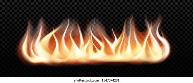 Realistic burning fire flames, vector effect for design. Transparent  black background.