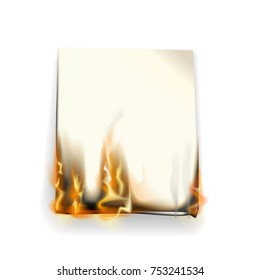 Realistic burning paper on a white background. Vector illustration.