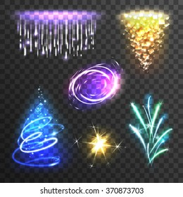 Realistic burst sparkle  and flash light effects set isolated on transparent background vector illustration
