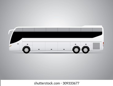 Realistic bus vector illustration. Perfect for applying advertising and company graphics (branding).