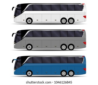 realistic buses set. side view