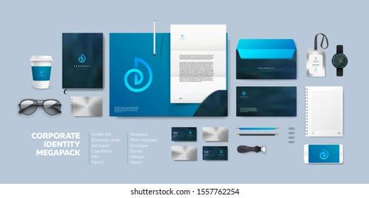 Realistic Business Branding mock-up of folder, blank A4, phone, envelope, notebook, badge and vizit card. Corporate Identity Brand Mockup set on light background. Blue seashell logo.