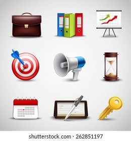 Realistic business icons set with 3d briefcase folders and chart isolated vector illustration