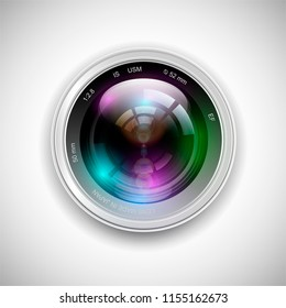 Realistic camera lens with reflections. Vector 3d professional photo video equipment macro device. Optical digital focus, zoom symbol, shutter photography technology object. Illustration isolated