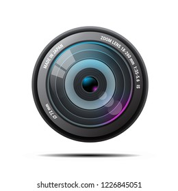 realistic Camera photo lens on white background, isolated ,vector Illustration
