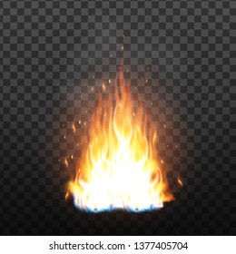 Realistic Campfire Flame With Sparks Effect Vector. Bright Campfire With Sparks And Smoke Effect. Fiery Heat Brush Colorful Animation Image On Transparency Grid Background. 3d Illustration