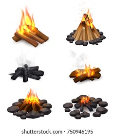 Realistic campfire smoke set of six isolated images with bonfire at various points of burning down vector illustration