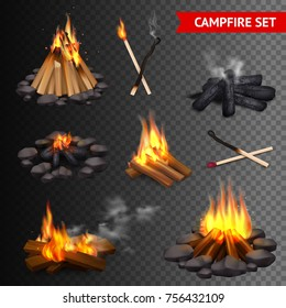 Realistic campfire transparent set of isolated bonfire images with lump wood stones and firebrands with smoke vector illustration