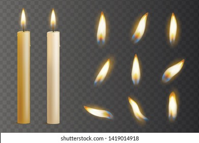 Realistic candle burn set, night and holiday decoration. Wax flame ceremony and christmas meditation. Vector candle fire illustration