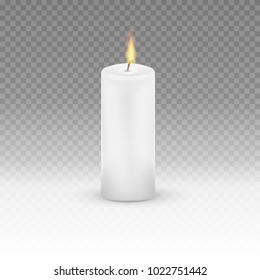 Realistic Candle Flame Fire Light isolated on transparent background. Vector illustration. Eps 10.