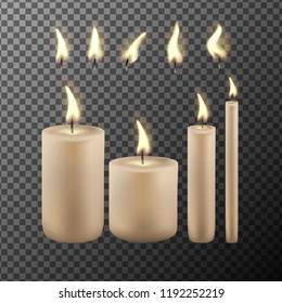 Realistic candle flame isolated on transparency grid background. Vector set.