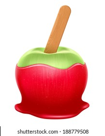 Realistic candy apple with wooden stick. Red caramel, green apple.