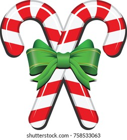 realistic candy cane with ribbon vector