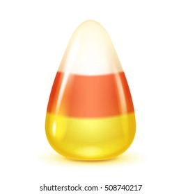 Realistic candy corn isolated on white background. Halloween symbol.