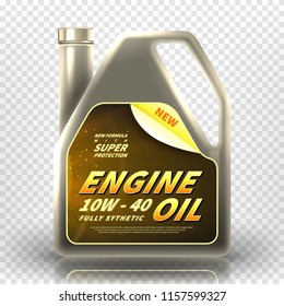 Realistic canister with engine oil. Vector illustration with 3d bottle of motor oil isolated on transparent background.