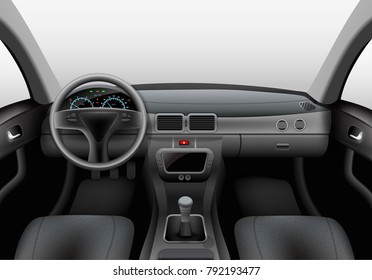 Realistic car dark interior with dashboard windshield and steering wheel vector illustration