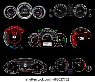 realistic car dashboard. set